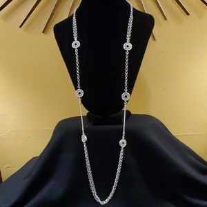 Ann Taylor Silver Pave Rhinestone Necklace #569